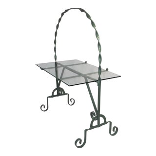 Mid 20th Century Wrought Iron and Glass Patio or Garden Accent Table For Sale