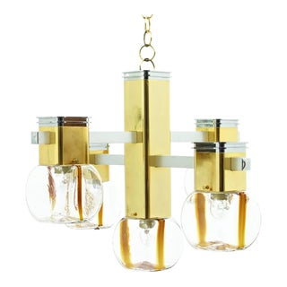 Italian Brass and Glass Chandelier by Lampadari, 1970s For Sale