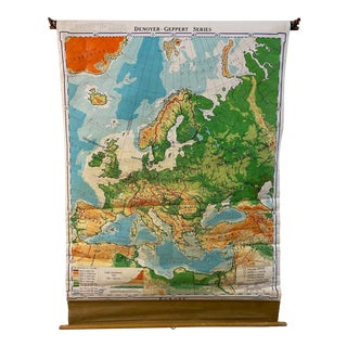 Denoyer-Geppert School House Map of Europe 1967 For Sale