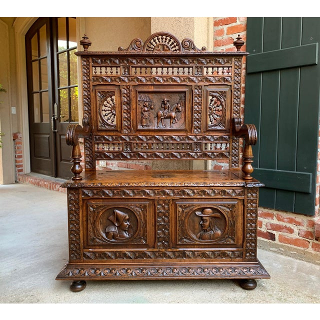 19th Century French Carved Oak Hall Bench Breton Brittany Pew Banquette For Sale - Image 13 of 13