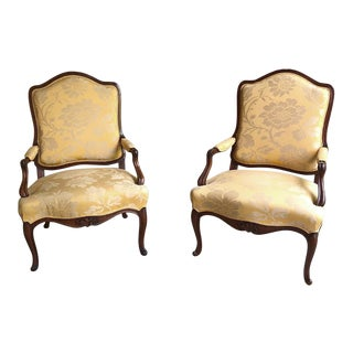 Pair of French Louis XV Walnut Armchairs, 1880s For Sale