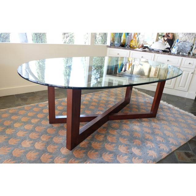 Contemporary Glass & Mahogany Dining Table - Image 6 of 7