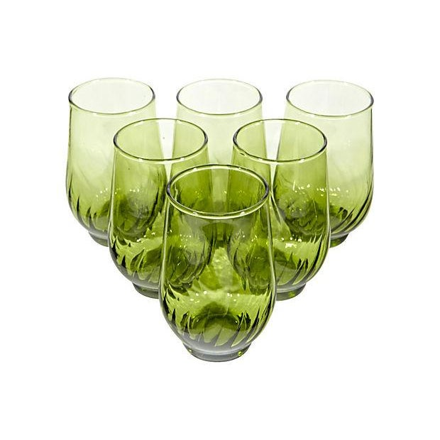 1960s Green Juice Glasses - Set of 6 - Image 2 of 3
