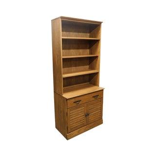 Brandt Ranch Oak Bookcase Top Louvered Door Storage Cabinet For Sale