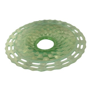 1970s Fenton Vaseline Opalescent Open Edge Basket Weave Footed Dish For Sale