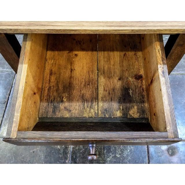 Wood Antique ( 1680-1749 ) Flemish Renaissance Oak Possum Belly Drawer Kitchen Work Table For Sale - Image 7 of 12