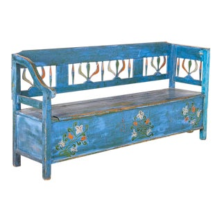 Antique Folk Art Blue Painted Storage Bench For Sale