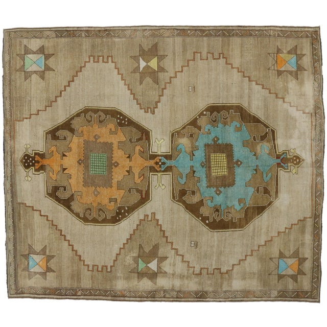 1950s 1950s Turkish Painted Oushak Kars Area Rug - 11' X 12'9 For Sale - Image 5 of 5