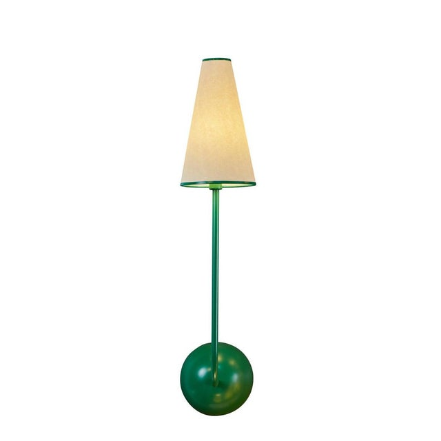 Mid-Century Modern Single-Arm Green Wall Lamp in the Style of Jean Royère For Sale - Image 3 of 12