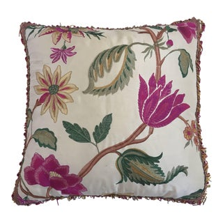 Vintage Colorful Silk Pillow With Spring Fresh Flowers Designs and Trim For Sale