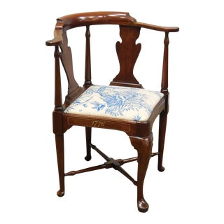 Hickory Chair Mahogany Queen Anne Corner Chair Bicentennial For Sale