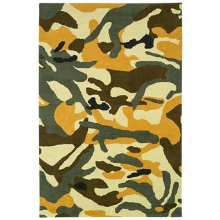 Contemporary Carini Indoor/Outdoor Camo Fatigues Rug - 6′ × 9′ For Sale
