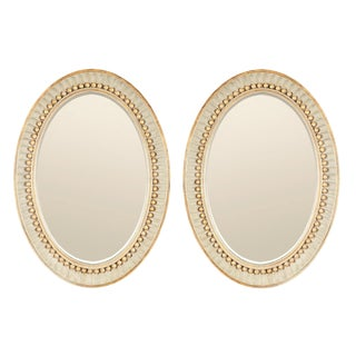 Swedish Empire Neoclassical Oval Mirrors by Charles Pollock - a Pair For Sale
