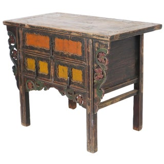 "Antique Chinese Asian 43 "" Wide 3 Drawer Table For Sale"