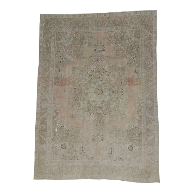 Persian Washed Out Tabriz Rug- 9′1″ × 12′6″ For Sale