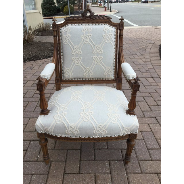 French Antique French Walnut Armchairs - A Pair For Sale - Image 3 of 7