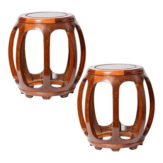 Chinese Rosewood or Teak Wood Drum Stools or Drinks Tables - a Pair For Sale