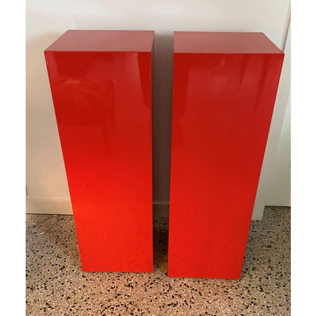 Vintage Minimalist Red Pedestals - a Pair For Sale In West Palm - Image 6 of 13