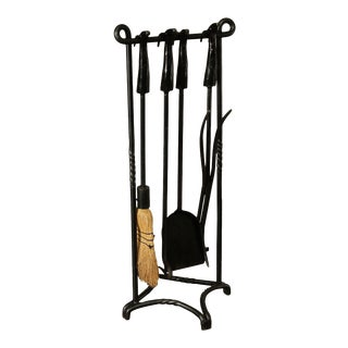 Hand Forged Iron Quality Set Rams Head Fireplace Tools For Sale