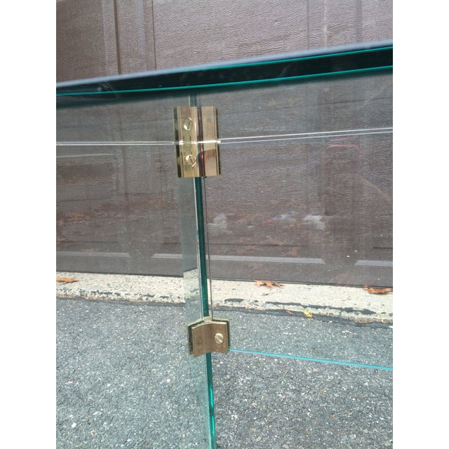 Pace glass coffee table with brass brackets For Sale - Image 5 of 5