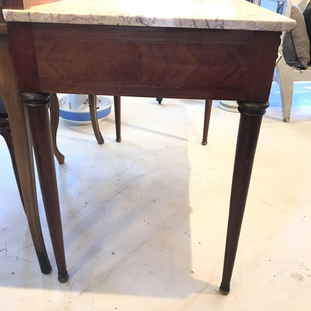 Metal Early 20th Century French Louis XVI Style Marble Top Dressing Table or Vanity For Sale - Image 7 of 12