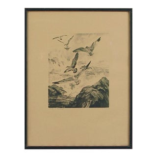 "1930s Vintage Palenske ""Gulls at Monterey"" California Etching Print For Sale"
