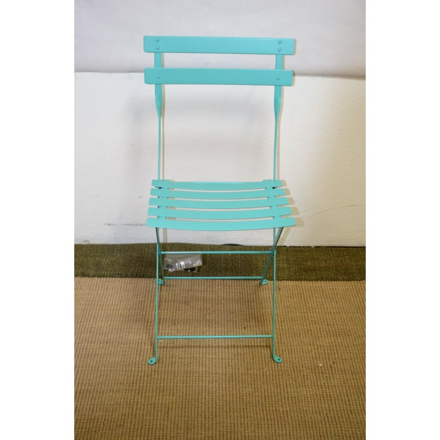 Black Fermob Bistro Lagoon Blue Chair For Sale - Image 8 of 8