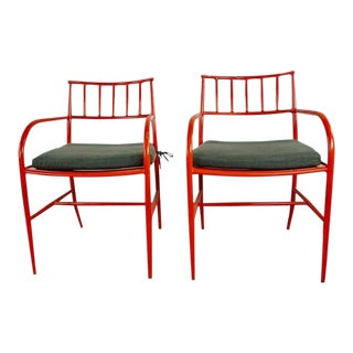 Contemporary West Elm Orange Armchairs - a Pair For Sale