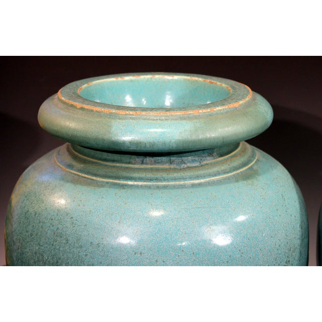 Large Pair of Galloway Terracotta Company Pottery Turquoise Urns Vases For Sale - Image 9 of 12