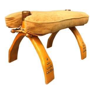 Camel Saddle Velour Stool For Sale