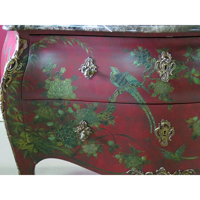 French Marble Top Green Paint Decorated Bombe Red Commode For Sale - Image 3 of 11