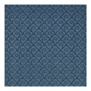 Schumacher Scallop Filigree Sisal Wallpaper in Lapis on Peacock For Sale