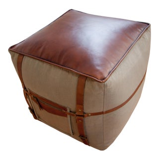 21st Century Vintage Leather Buckled Ottoman For Sale