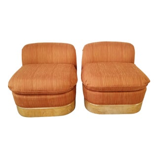 Milo Baughman for Lane Burl Wood Base Slipper Lounge Chairs - a Pair . For Sale