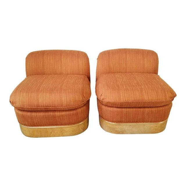 Milo Baughman for Lane Burl Wood Base Slipper Lounge Chairs - a Pair For Sale