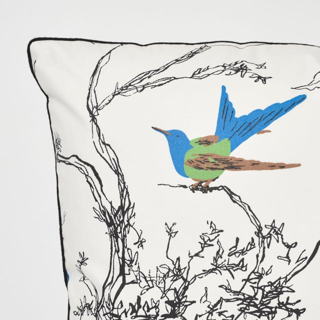 Contemporary Schumacher Birds & Butterflies Pillow in Multi For Sale - Image 3 of 7