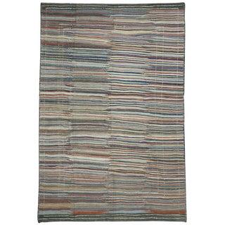 "Contemporary Turkish Striped Kilim Area Rug - 8' X 12'3"" For Sale"