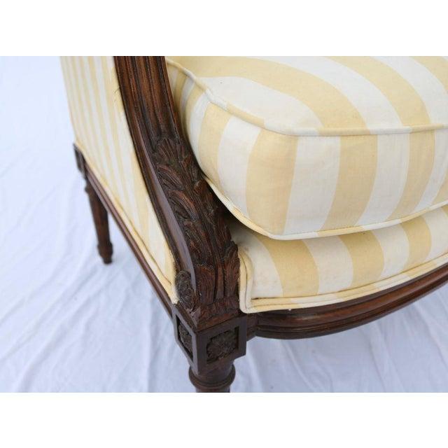 Louis XVI Style Striped Upholstery Walnut Bergère - Image 5 of 11