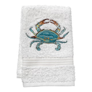 Aqua Atlantic Crab Guest Towel White Terry, Embroidered For Sale