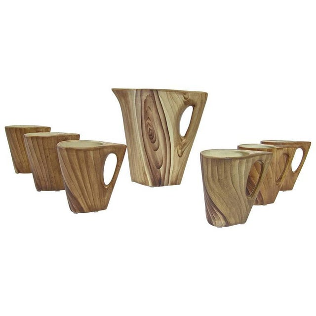 1950s Vallauris Faux Bois Ceramic Pitcher & Cups - Set of 7 For Sale - Image 9 of 9