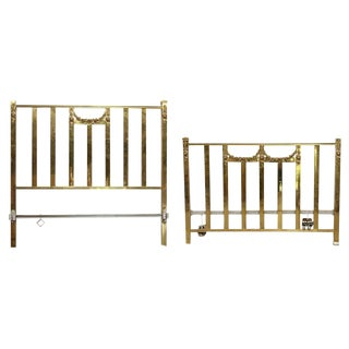 Early 20th Century Antique Brass Full Size Bedframe For Sale