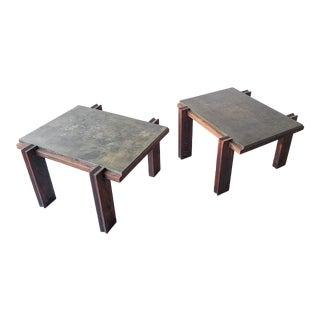 Pair of Vintage Metal and Oak Craftsman Side Tables For Sale