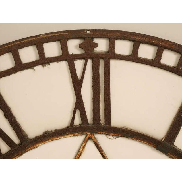 English Traditional Circa 1860 Cast Iron English Clock Face With Copper Hands For Sale - Image 3 of 11