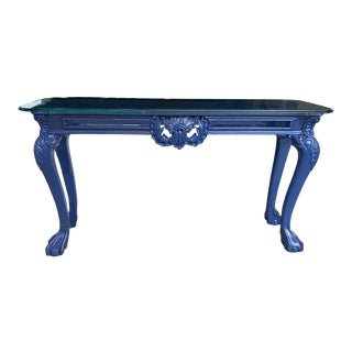 Ball and Clawfoot Lacquered Blue Console Chinoiserie Console Table For Sale