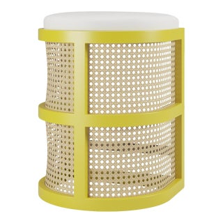 Isabella Counter Stool - Citron, Optic White Linen For Sale