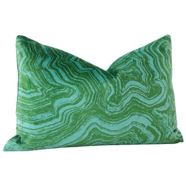 "12"" X 18"" Malachite Velvet Lumbar Pillows - a Pair For Sale - Image 4 of 6"