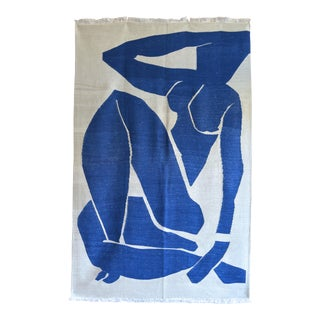Henri Matisse - Blue Nude 3- Inspired Silk Hand Woven Area - Wall Rug 4′4″ × 6′9″ For Sale