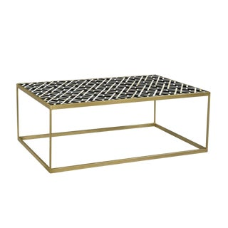 Mona Brass & Inlay Coffee Table For Sale