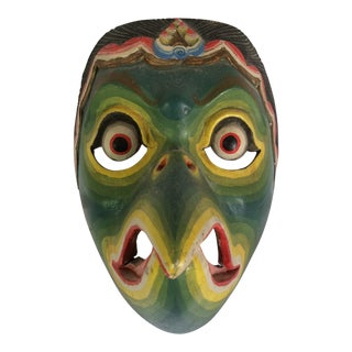 Hand Carved Wood and Painted Bali Eagle Spirit Mask For Sale