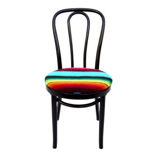 Vintage Michael Thonet No.18 Bentwood Cafe Chair || Colorful Mexican Zarape Upholstery || Sculptural Boho Desk / Accent Chair For Sale